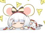 1girl animal_ears bangs black_legwear blunt_bangs bow cheese chibi closed_eyes eyebrows_visible_through_hair food granblue_fantasy hair_bow hairband highres klaius long_sleeves lying mouse mouse_ears on_stomach skirt sleeping socks solo swiss_cheese vikala_(granblue_fantasy) white_hair white_skirt wide_face wide_sleeves