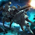 copyright_name cosmos_invictus english_commentary firing floating gun highres holding holding_gun holding_weapon jessada_sutthi looking_ahead mecha official_art science_fiction shoulder_cannon solo space watermark weapon
