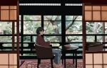 1girl barefoot black_hair book brown_shirt chair gumi. highres holding holding_book indoors leaf long_sleeves open_book original pants print_pants profile shadow shirt short_hair sitting solo table tree wide_shot window