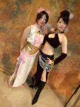 amane boots chinadress cosplay diao_chan dynasty_warriors flower hair_ribbons midriff miku qipao zhen_ji