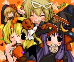 bat_wings blonde_hair cake candy closed_eyes food futami_yayoi halloween hat jack-o'-lantern jack-o-lantern kirisame_marisa lollipop pastry patchouli_knowledge pumpkin purple_hair shanghai shanghai_doll swirl_lollipop touhou vampire wings wink witch_hat