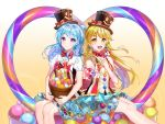 2girls :d ball bang_dream! bangs basket blonde_hair blue_hair blue_skirt bow bowtie bubble_background candy center_frills earrings food gradient gradient_background group_name hat hat_bow headwear_writing heart highres holding_lollipop incoming_food jewelry lollipop looking_at_viewer matsubara_kanon michelle_(bang_dream!) multiple_girls one_side_up open_mouth orange_background outstretched_hand polka_dot polka_dot_bow polka_dot_neckwear pom_pom_(clothes) red_bow red_neckwear rerin_(rerin913) ringed_eyes short_sleeves sidelocks sitting skirt smile smiley_face top_hat tsurumaki_kokoro vertical-striped_vest vest violet_eyes yellow_eyes