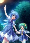 blue_dress blue_eyes blue_hair blush bow breasts cirno daiyousei dress fairy forest full_moon green_eyes green_hair hair_bow hair_ribbon hand_holding highres holding_hands moon multiple_girls nature night open_mouth pointing ribbon side_ponytail takeponi thigh-highs thighhighs touhou tree white_legwear wings zettai_ryouiki
