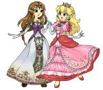 bad_id blonde_hair blue_eyes brown_hair crown elf hand_holding holding_hands multiple_girls pointy_ears princess_peach princess_zelda super_mario_bros. super_smash_bros. the_legend_of_zelda twilight_princess
