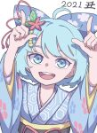 1girl 2021 :d absurdres alternate_costume bangs blue_eyes blue_hair blue_kimono cirno eyebrows_behind_hair floral_print hair_ornament hexagon highres japanese_clothes kame_(kamepan44231) kimono long_sleeves looking_at_viewer new_year open_mouth pointing pointing_up sash short_hair simple_background smile solo touhou upper_body white_background wide_sleeves
