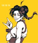1girl bare_shoulders bayneezone brown_eyes brown_hair double_bun english_commentary greyscale looking_at_viewer monochrome naruto naruto_(series) one_eye_closed simple_background sleeveless solo tenten tongue tongue_out upper_body yellow_background