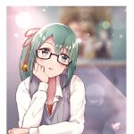 .live 1girl arm_support bangs black-framed_eyewear blush collared_shirt commentary_request cropped_torso dress_shirt eggedomon eyebrows_visible_through_hair framed glasses green_eyes green_hair grey_sweater grey_vest hair_between_eyes hair_ribbon hand_on_own_cheek hand_on_own_face hand_on_table head_tilt highres kagura_suzu_(.live) lens_flare long_hair long_sleeves looking_ahead looking_away necktie noise open_mouth ponytail red_neckwear red_ribbon ribbed_sweater ribbon semi-rimless_eyewear shiny shiny_hair shirt solo striped striped_neckwear sweater sweater_vest under-rim_eyewear upper_body vest virtual_youtuber white_shirt