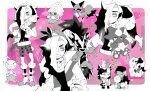 +_+ 1boy 2girls alternate_costume asymmetrical_bangs bangs belt bike_shorts black_hair boots bracelet clenched_teeth closed_eyes commentary_request cropped_jacket dawawa eyeshadow gen_5_pokemon gen_6_pokemon gen_8_pokemon gloria_(pokemon) gloves grin gym_leader hand_up heart highres holding inkay jewelry knees long_hair long_sleeves makeup marnie_(pokemon) morpeko morpeko_(full) multicolored_hair multiple_girls nickit on_head partially_colored piers_(pokemon) pokemon pokemon_(creature) pokemon_(game) pokemon_on_head pokemon_swsh scraggy smile sparkle standing teeth toxel translation_request two-tone_hair