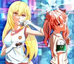 +_+ 2girls :< armband bag bangs blonde_hair blue_background bow breasts brown_eyes brown_sweater_vest bullet_hole chain circuit_board_print commentary controller dress_shirt from_side gloves gym_uniform hair_between_eyes hair_bow hand_to_own_mouth handbag holding holding_remote_control holding_weapon large_breasts long_hair looking_back multiple_girls needle open_mouth parted_bangs red_bow remote_control school_uniform shattered shirai_kuroko shirt shokuhou_misaki shoya_(yama1979) sleeveless sleeveless_shirt small_breasts sweater_vest symbol-shaped_pupils throwing_needles toaru_kagaku_no_railgun toaru_majutsu_no_index tokiwadai_school_uniform twintails upper_body weapon white_gloves white_shirt