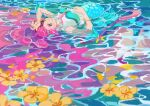 1girl absurdres afloat aqua_eyes arm_up bare_shoulders crop_top fins floating flower flower_on_liquid grin heart heart_in_eye hibiscus highres kobayashi_hisanori laura_(precure) looking_at_viewer looking_to_the_side lying_on_water mermaid monster_girl partially_submerged pearl_hair_ornament pink_hair pink_lips precure smile solo symbol_in_eye tropical-rouge!_precure water wet wristband