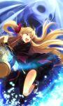 1girl :d asymmetrical_legwear bangs birdcage black_dress black_legwear blonde_hair bow cage diadem dress earrings ereshkigal_(fate) eyebrows_visible_through_hair fate/grand_order fate_(series) floating_hair hair_bow highres holding jewelry k3rd leg_up long_hair open_mouth pumps red_bow shiny shiny_hair short_dress smile solo twintails very_long_hair yellow_eyes