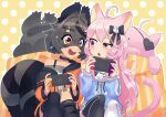 2girls :3 :d ahoge animal_ear_legwear animal_ears asymmetrical_legwear bandaid bandaid_on_knee bare_shoulders birthday black_bow black_choker black_eyepatch black_legwear black_skirt blue_hoodie bow cat_ear_legwear cat_ears cat_girl cat_hair_ornament choker collarbone commentary commission commissioner_upload controller cross_hair_ornament english_commentary eye_mask eyebrows_visible_through_hair eyepatch feet_out_of_frame game_controller ghost_tail grey_hair grey_shirt hair_between_eyes hair_bow hair_ornament heart heart_eyepatch highres holding holding_controller holding_game_controller hood hoodie indie_virtual_youtuber kneehighs light_blush logo_parody long_hair looking_at_screen mascot mixed-language_commentary multicolored_hair multiple_girls nintendo_switch nyatasha_nyanners off-shoulder_shirt off_shoulder oozaki_nando open_mouth orange_hoodie peeking pink_hair pleated_skirt polka_dot polka_dot_background raccoon_ears raccoon_girl raccoon_tail raised_eyebrow shirt short_hair shoulder-to-shoulder single_kneehigh single_thighhigh sitting skeb_commission skirt skull_print smile snuffy_(vtuber) sparkle streaked_hair striped_tail sweatdrop tail teeth thick_eyebrows thigh-highs two-tone_background two-tone_hoodie unzipped violet_eyes virtual_youtuber vshojo white_background white_legwear yellow_background zipper zipper_pull_tab