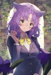 1girl absurdres animal_ear_fluff animal_ears bangs blurry blurry_foreground blush bow brick_wall buttons cat_ears closed_mouth depth_of_field eyebrows_visible_through_hair hand_in_hair highres jacket long_sleeves looking_at_viewer original outdoors plant purple_hair school_uniform shirt short_hair smile solo sooon uniform upper_body white_shirt yellow_bow yellow_eyes yellow_neckwear