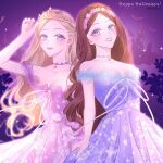 2girls anneliese_(barbie) ballgown barbie bat best_friends blue_dress blue_eyes blurry brown_hair candy castle choker collar couple crown curled_hair curly_hair doll doppelganger erika_(barbie) fairytale fanart flower_crown flower_headdress flower_wreath formal friends gay girlfriends gown grimm's_fairy_tales hair_pinned halloween haunted_house headband historical holiday ice_blue_eyes jack-o'-lantern lace lace_choker leaning_on_person lesbians lollipop love matching_dresses matching_hair/eyes matching_necklaces matching_outfit medieval movie off-shoulder_dress off_shoulder pale_blue_eyes pale_skin past peasant pink_dress pink_lips pinned_back_hair princess princess_and_the_pauper princess_anneliese_(barbie) princess_crown princesses purple_background renaissance renaissance_clothes ribbon romance rose same_sex_couple same_sex_marriage skirt_hold the_prince_and_the_pauper tiara tulle wavy_hair yuri