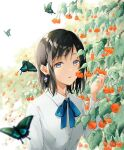 1girl animal aoi_yuki bangs black_hair blue_butterfly blue_eyes blue_neckwear blue_ribbon bug butterfly dress_shirt earrings eyebrows_visible_through_hair flower hand_up highres holding holding_flower insect jewelry long_sleeves looking_at_viewer original parted_lips ribbon shirt short_hair solo upper_body white_shirt