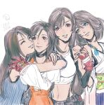 4girls brown_hair closed_eyes crop_top elbow_gloves final_fantasy final_fantasy_ix final_fantasy_vii final_fantasy_viii final_fantasy_x garnet_til_alexandros_xvii gloves hair_ornament heterochromia highres holding_hands hug long_hair multiple_girls navel parted_lips red_gloves rinoa_heartilly short_hair slackertherubycat smile stomach suspenders tifa_lockhart upper_body yuna_(ff10)