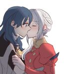 2girls bangs blue_eyes blue_hair blush buttons byleth_(fire_emblem) byleth_(fire_emblem)_(female) closed_eyes clothes_grab collar commentary_request dress edelgard_von_hresvelg eyebrows_visible_through_hair fire_emblem fire_emblem:_three_houses from_side hair_between_eyes kiss long_hair long_sleeves looking_at_another multiple_girls puffy_long_sleeves puffy_sleeves red_dress riromomo short_sleeves simple_background upper_body white_background white_hair yuri