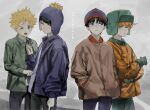 >_o 4boys bangs beanie black_hair blonde_hair blue_eyes blue_headwear blue_jacket brown_jacket closed_mouth copyright_name craig_tucker gloves green_eyes green_gloves green_headwear grey_background hands_in_pockets hat highres holding_hands jacket kyle_broflovski leopold_stotch long_sleeves messy_hair multiple_boys one_eye_closed open_mouth orange_hair orange_jacket pants pom_pom_(clothes) simple_background south_park stan_marsh sweat unye_00 yellow_eyes