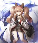 1girl absurdres angelina_(arknights) animal_ears arknights bag black_gloves brown_hair closed_mouth coat dated feet_out_of_frame gloves grey_choker grey_shirt grey_shorts hairband highres klaius long_hair long_sleeves looking_at_viewer open_clothes open_coat red_eyes shirt shorts shoulder_bag smile solo twintails twitter_username white_coat