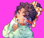 1girl aqua_sweater black_hair crepe dark_skin dark_skinned_female earmuffs eating food food_on_face fruit hair_ribbon highres holding holding_food looking_at_viewer original purple_background red_nails ribbon simple_background solo strawberry striped striped_ribbon tarocos upper_body violet_eyes