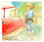 1girl aircraft airplane barefoot blonde_hair blush bob_cut brown_belt capri_pants cliff cuffed cuffed_jeans fio_piccolo forest from_behind golden_hair hair_blowing highres kurenai_no_buta li_(lithium0522) messy_hair nature painted painting pants pants_rolled_up paper plaid plaid_shirt savoia_s.21 seaplane shirt short_hair sleeves_rolled_up solo tool_belt traditional_media tucked_in tucked_shirt wading water watercolor_(medium)