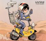 1girl black_eyes black_hair breasts dust from_side ground_vehicle holding holding_phone kiichi medium_breasts moped motor_vehicle mountain nasa perseverance_(rover) personification phone real_life science_fiction solo space_helmet spacesuit