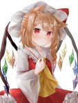 1girl adapted_costume animal_ear_fluff animal_ears blonde_hair blush bow breasts cat_day cat_ears closed_mouth crystal dress expressionless eyebrows_visible_through_hair flandre_scarlet frilled_shirt_collar frills furawast hat hat_bow highres kemonomimi_mode long_sleeves looking_at_viewer mob_cap one_side_up petticoat red_bow red_dress red_eyes short_hair simple_background small_breasts solo touhou upper_body white_background white_headwear wide_sleeves wings yellow_neckwear