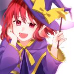 1girl artist_name bangs bow cape dress earrings eyebrows_visible_through_hair hair_between_eyes hand_on_own_face hands_up hat hat_bow heart heart_eyes highres jewelry jill_07km kirisame_marisa kirisame_marisa_(pc-98) long_sleeves looking_at_viewer open_mouth purple_cape purple_dress purple_headwear purple_sleeves red_eyes redhead short_hair simple_background smile solo star_(symbol) touhou touhou_(pc-98) white_background witch_hat yellow_bow