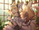 1girl animal_ears arknights dress flower fox_ears fox_girl fox_tail green_eyes hair_intakes hairband looking_at_viewer manjyufroth multiple_tails open_mouth short_hair smile suzuran_(arknights) tail white_dress