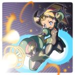 1girl android armored_boots black_bodysuit black_gloves blonde_hair blue_eyes blush bodysuit boots breasts commentary_request energy_gun firing full_body glint gloves green_armor gun holding holding_gun holding_weapon long_hair napo open_mouth palette_(rockman) ray_gun robot_ears rocket_boots rockman rockman_x rockman_x8 small_breasts solo twintails upper_teeth weapon