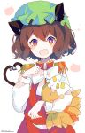 1girl :d absurdres animal_ears bangs blush_stickers bow bowtie bright_pupils brown_hair cat_ears cat_tail chen eyebrows_visible_through_hair fang gold_trim green_headwear hair_between_eyes hat heart heart_tail highres holding jewelry looking_at_viewer mob_cap multiple_tails nekomata open_mouth pillow_hat red_skirt red_vest short_hair simple_background single_earring skirt skirt_set smile solo tail touhou two_tails umemaro_(siona0908) upper_body vest white_background white_bow white_headwear white_neckwear white_pupils yakumo_ran yakumo_ran_(fox)