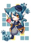 1girl animal_ears animal_print azur_lane black_dress blue_hair box cat_ears cat_print dress gift gift_box hat heart-shaped_box highres holding holding_box iron_cross kappei looking_at_viewer meowfficer_(azur_lane) mini_hat one_eye_closed simple_background solo steel_(azur_lane) wide_sleeves yellow_eyes