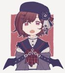 1girl :o bangs black_headwear black_sailor_collar black_wings bow brown_background brown_bow brown_eyes brown_hair chain cropped_torso eyebrows_behind_hair fangs grey_background grey_jacket hair_between_eyes hair_ornament hairclip hat higuchi_madoka idolmaster idolmaster_shiny_colors jacket looking_at_viewer nonaprev open_mouth plaid plaid_bow sailor_collar shirt solo two-tone_background upper_body white_shirt wings