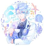 1boy award_ribbon azul_ashengrotto birthday blue_eyes blue_hair blue_neckwear blue_ribbon blue_shirt blue_theme brooch buttons closed_mouth collared_shirt commentary_request coral cup dated dress_shirt eel eyebrows_visible_through_hair fish glasses happy_birthday holding holding_cup jewelry lapel lapel_pin long_sleeves male_focus mole mole_under_mouth neck_ribbon octopus one_eye_closed over-rim_eyewear ribbon sash semi-rimless_eyewear shirt short_hair solo starfish suit_jacket sujiko_(125motimoti) teacup twisted_wonderland upper_body