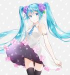 1girl aoi_yuki aqua_hair armlet ass_visible_through_thighs bangs bare_shoulders black_legwear blue_eyes blue_neckwear cowboy_shot dress dress_flower dress_lift eyebrows_visible_through_hair flower grey_background hair_flower hair_ornament hatsune_miku highres hydrangea long_hair looking_at_viewer necktie polka_dot polka_dot_background short_necktie sleeveless sleeveless_dress solo standing thigh-highs twintails very_long_hair vocaloid white_dress zettai_ryouiki