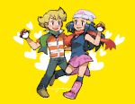 1boy 1girl barry_(pokemon) beanie blonde_hair blush boots brown_eyes commentary_request dawn_(pokemon) eye_contact eyelashes green_scarf hair_ornament hairclip hand_up hat heart holding holding_poke_ball hunnyamai long_hair looking_at_another open_mouth orange_scarf over-kneehighs pants pink_footwear pixel_art poke_ball poke_ball_(basic) pokemon pokemon_(game) pokemon_dppt scarf shoes signature smile teeth thigh-highs yellow_background
