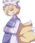 1girl absurdres bangs blonde_hair dress eyebrows_behind_hair fox_tail from_side hands_together hat highres kame_(kamepan44231) long_sleeves looking_at_viewer multiple_tails open_mouth pillow_hat short_hair simple_background solo standing tabard tail touhou white_background white_dress white_headwear yakumo_ran yellow_eyes