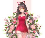 1girl bare_arms bare_shoulders black_hair breasts closed_mouth collarbone cowboy_shot dress flower hair_ribbon halter_dress halterneck hollyyn jewelry long_hair looking_at_viewer medium_breasts necklace orange_eyes original pink_flower ponytail red_dress ribbon short_dress sleeveless sleeveless_dress solo spaghetti_strap spring_(season) thigh_gap thighs very_long_hair white_flower
