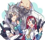 3boys bald beard black_gloves blush closed_eyes crossed_arms double_v ebira eyepiece facial_hair finger_to_cheek fingernails gas_mask gloves grey_eyes grey_hair jose_(yu-gi-oh!) long_hair long_sleeves lucciano male_focus multiple_boys open_mouth placido red_eyes redhead silver_hair spiky_hair v yu-gi-oh! yu-gi-oh!_5d's