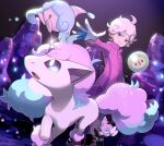 1boy ahoge bangs bede_(pokemon) cave_interior closed_mouth coat commentary_request galarian_form galarian_ponyta gen_5_pokemon gen_8_pokemon gin-jou glint gloves gothita grey_hair hatenna leggings long_sleeves looking_to_the_side male_focus partially_fingerless_gloves pokemon pokemon_(creature) pokemon_(game) pokemon_swsh purple_coat purple_footwear shoes short_hair smile solosis spread_fingers standing violet_eyes