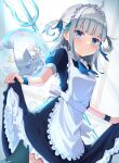 ahoge alternate_costume apron bangs black_dress bloop_(gawr_gura) blue_eyes blue_hair blue_neckwear blue_ribbon blunt_bangs blush bubble byoko_(byokoramen) closed_mouth collared_dress cowboy_shot day dot_nose dress dutch_angle enmaided fish_tail frilled_cuffs frilled_dress frills gawr_gura green_ribbon hair_ribbon highres hololive hololive_english indoors lifted_by_self maid maid_apron maid_headdress medium_hair multicolored_hair necktie polearm puffy_short_sleeves puffy_sleeves ribbon shaded_face shark_girl shark_tail short_sleeves sidelocks silver_hair skirt skirt_lift streaked_hair sunlight tail tied_hair trident two_side_up virtual_youtuber weapon white_apron wrist_cuffs