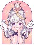 1girl :3 animal animal_ear_fluff animare arm_support braid fox garland_(decoration) happy_birthday highres kino_haruc long_hair shiromiya_mimi silver_hair sleeveless star_(symbol) violet_eyes virtual_youtuber wings