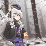 1girl absurdres animal_ears arknights bell belt black_capelet black_gloves blue_headwear blurry blurry_background bright_pupils capelet closed_mouth depth_of_field dress forest fur-trimmed_capelet fur_trim gloves grey_eyes grey_hair hand_up hat highres holding holding_bell klaius long_hair nature pramanix_(arknights) purple_dress side_braids solo tree white_pupils