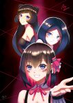 3girls absurdres artist_name azki_(hololive) bangs bare_shoulders black_hair blue_eyes blush_stickers breasts colored_inner_hair commentary der_zweite detached_collar eyebrows_visible_through_hair grin hair_ornament highres hololive long_hair looking_at_viewer multicolored_hair multiple_girls multiple_persona pink_hair short_hair smile teeth virtual_youtuber