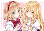>:) 2girls alice_margatroid bangs black_dress blonde_hair blue_eyes blush bow braid closed_mouth dress eyebrows_visible_through_hair hair_between_eyes hair_bow hairband heart heart_hands heart_hands_duo juliet_sleeves kirisame_marisa long_hair long_sleeves looking_at_viewer multiple_girls nanase_nao no_hat no_headwear puffy_sleeves red_bow red_hairband shirt single_braid sleeveless sleeveless_dress smile touhou upper_body v-shaped_eyebrows white_bow white_shirt yellow_eyes