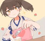 1girl apron brown_eyes brown_hair cake commentary_request dutch_angle food fork fruit heart ina_(1813576) japanese_clothes kaga_(kancolle) kantai_collection long_hair pink_apron side_ponytail smile solo sparkle strawberry strawberry_shortcake tasuki