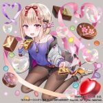 1girl bangs baozi belt black_bow black_legwear blonde_hair blush bob_cut bow bubble chocolate chocolate_bread eyebrows_visible_through_hair food giving hair_bow hair_ornament hair_ribbon hairclip hakuda_tofu heart heart_bubbles heart_of_string highres holding holding_food jacket jewelry long_sleeves looking_at_viewer monster_collect necklace off_shoulder official_art open_mouth pantyhose pink_eyes pink_ribbon purple_shirt red_belt red_ribbon ribbon shirt shoes short_shorts shorts sitting smile sneakers tokugawa_ieyasu_(sengoku_basara) valentine watermark white_bow white_jacket yokozuwari