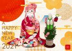 1girl 2020 2021 absurdres ahoge alternate_costume alternate_hairstyle artist_logo artist_name bamboo bangs blue-framed_eyewear commentary_request glasses hair_bun hands_on_lap happy_new_year highres japanese_clothes kadomatsu kantai_collection kimono long_hair long_sleeves looking_at_viewer makigumo_(kancolle) new_year obi ojipon pink_hair print_kimono red_kimono sash seiza sitting smile solo tied_hair yellow_eyes yuugumo_(kancolle)