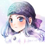 1girl artist_name asirpa blue_eyes blush earrings fur_trim golden_kamuy headband hoop_earrings jewelry jin_akhr long_hair looking_at_viewer portrait solo