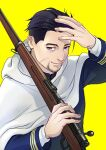 1boy black_eyes black_hair cape facial_hair ganpiro golden_kamuy gun hair_slicked_back hair_strand hand_up imperial_japanese_army long_sleeves looking_at_viewer male_focus military military_uniform ogata_hyakunosuke rifle scar scar_on_cheek scar_on_face short_hair simple_background standing stubble uniform upper_body weapon white_cape yellow_background